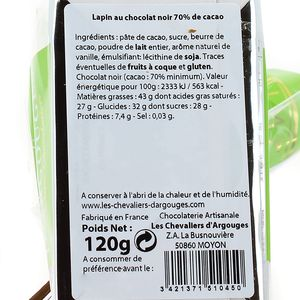 Chevalier D Argouges Lapin au chocolat noir 70% de cacao