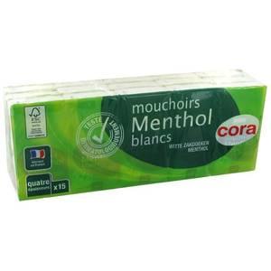 Cora Mouchoirs blancs Menthe en étui compact 4 épaisseurs