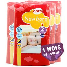 Couches New Born T2 3/6 kg, Lot de 4 paquets de 58 couches,CORA,