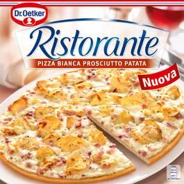 Dr.Oetker Pizza Ristorante Bianca Patata Prosciutto- Crème fraîche, fromage, oignons, Jambon fumé et chips de pomme de terre