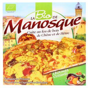 La Pizza De Manosque Pizza Bio aux légumes cuisinés cuite au feu de bois de chêne et de hêtre