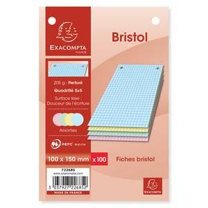 Exacompta Fiches Bristol 10 x 15 cm petits carreaux couleurs assorties