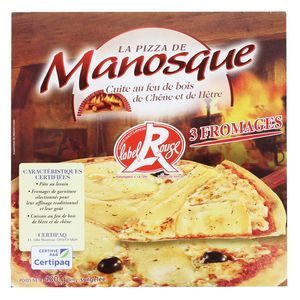 La Pizza De Manosque Pizza 3 fromages Label Rouge cuite au feu de bois de Chêne et de Hêtre
