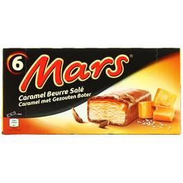 Mars 6 barres glacées caramel au beurre salé 6x45ml
