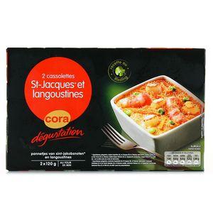 Cora Dégustation 2 Cassolettes de noix de Saint Jacques sans corail et langoustines