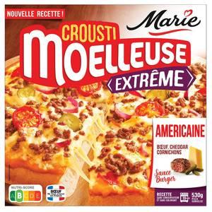 Marie Pizza l'Américaine Crousti'Moelleuse Extrême boeuf cheddar cornichons