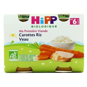 Hipp Carottes Riz Veau bio, dès 6 mois