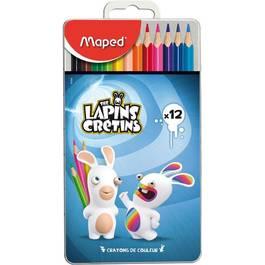 Maped Crayons de couleurs boite en métal Lapins Crétins