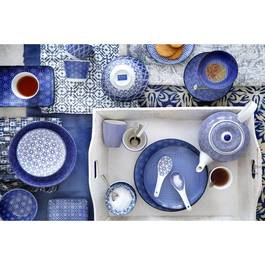 Tokyo Design Studio Coffret assiette + 3 bols Nippon Blue Wave/Dot