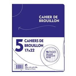 Cahiers de brouillon 17 x 22 cm grands carreaux