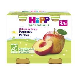 Hipp Délices de Fruits Pommes Pêches bio, dès 4/6 mois