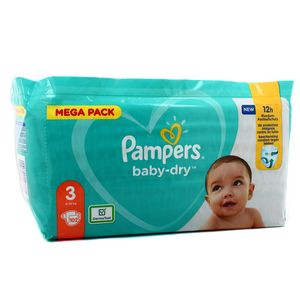 Pampers Babydry Couches T3 - 6/10kg - Format Méga pack