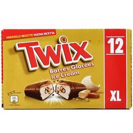 Twix Barres glacées caramel biscuit les 12 barres de 43,1 ml