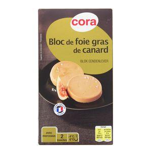 Cora Duo Bloc de Foie Gras de Canard avec morceaux, 80g