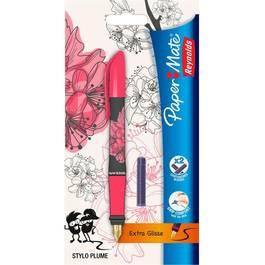 Papermate Mon stylo plume cherry Blossom  + 2 cartouches courtes d'encre bleue effaçable
