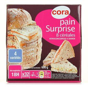 Pain surprise au 8 céréales, 32 parts ,CORA,600g