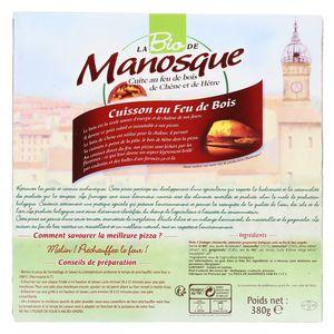 La Pizza De Manosque Pizza Bio 3 fromages- Mozzarrella, Emmental, Gorgonzola cuite au feu de bois de chêne et de hêtre