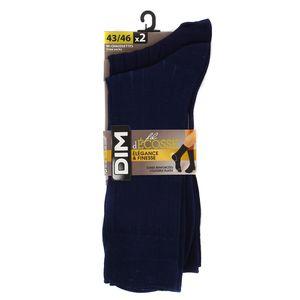 Dim 2 paires de mi-Chaussettes fil d'écosse Bleues