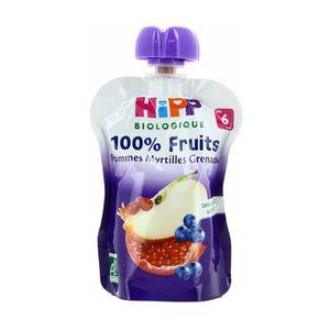 Hipp Gourde Pommes Myrtilles Grenades bio dès 6 mois