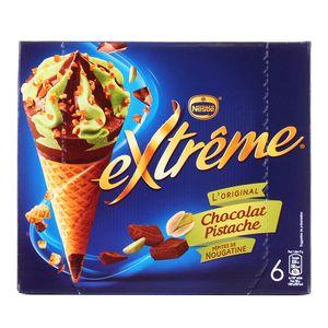 Extrême 6 cônes glacés chocolat pistache et Pépites de Nougatine 6x120ml