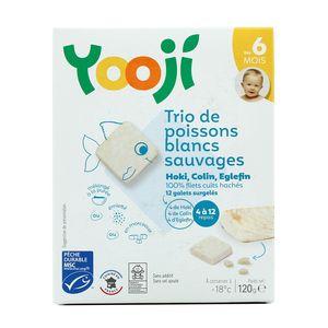 Yooji Trio de poissons blancs (Hoki, Colin, Eglefin) MSC cuits et surgelés en galets dès 6 mois