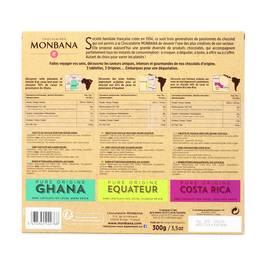 Chocolaterie Monbana Coffret découverte 3 tablettes les pures origines