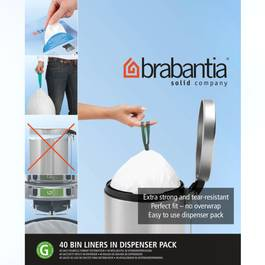 brabantia distributeur de sacs poubelle 30l poign es taille g 40 sacs. Black Bedroom Furniture Sets. Home Design Ideas