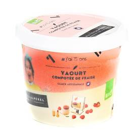 Alperel Mini Pot Crème glacée yaourt et compotée de fraise Bio 100ml