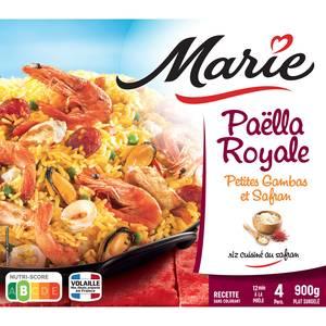 Marie Paella royale petites gambas et safran avec du riz cuisiné au safran