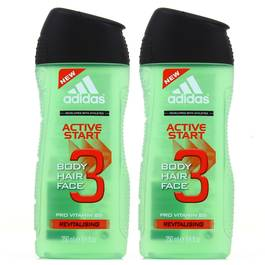 Adidas Gel douche Active Start 3en1 corps, cheveux et visage