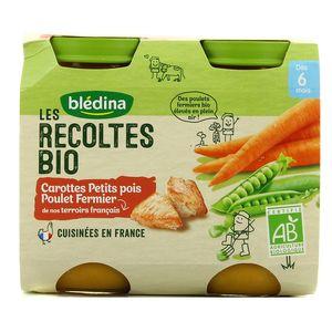 Blédina Les récoltes Bio Brocolis Carottes Petits pois Poulet Fermier Dès 6 mois