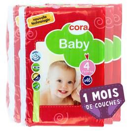 Couches Baby T4 7/18 kg, Lot de 3 paquets de 46 couches,CORA,