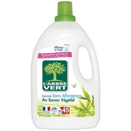 Lessive liquide écologique au savon végétal 45 lavages ,L'ARBRE VERT,3l