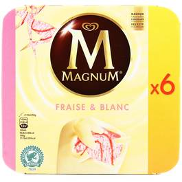 Magnum 6 b tonnets fraise et chocolat blanc 6x110ml 6x90g - Magnum chocolat blanc ...