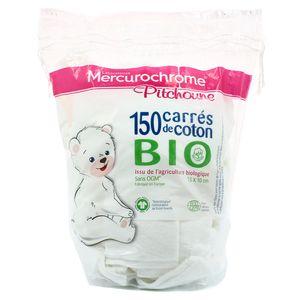 Mercurochrome Carrés de coton bio issu de l'agriculture biologique