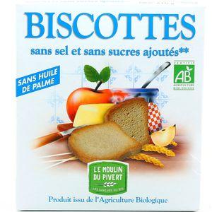 Biscottes Sans Sel et Sans Sucres Ajoutés,LE MOULIN DU PIVERT,270g