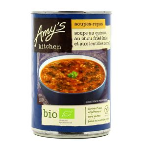 Amy's Kitchen Soupe quinoa, chou frisé kale, lentilles corail bio sans gluten