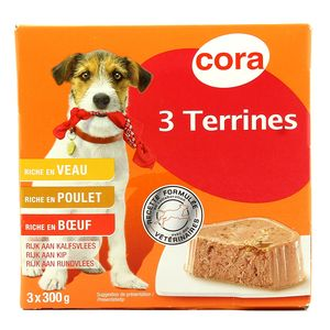 Cora 3 terrines complètes pour chiens