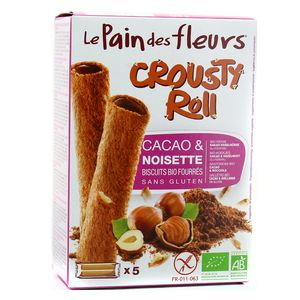 Le pain des fleurs Crousty Roll Cacao Noisette, sans gluten, Bio