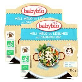 Babybio Méli-Mélo de légumes de saumon riz bio, dès 15 mois