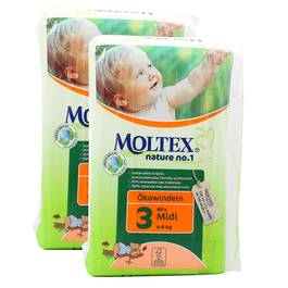 Couche eco Midi 4/9kg , Lot de 2 paquets de 42 couches,MOLTEX,2x42 couches