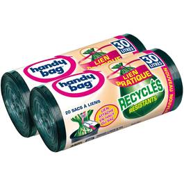 Handy Bag Sacs poubelle 30L recyclés double épaisseur à liens