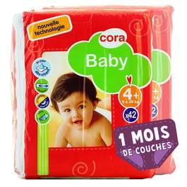 Couches Baby T4+ 9/20 kg, Lot de 2 paquets de 42 couches,CORA,