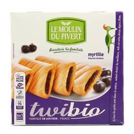 Le Moulin Du Pivert Biscuits Twibio fourrés myrtille bio x6