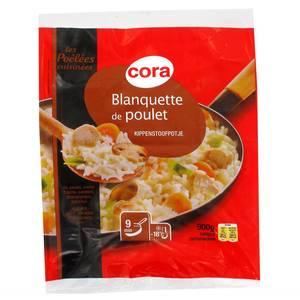 Cora Blanquette au Poulet- Riz, poulet, crème fraîche, carottes, champignons, poireaux