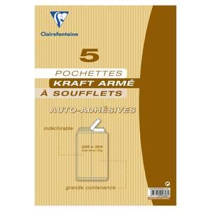Clairefontaine 5 Pochettes kraft à soufflets kraft auto-adhésives
