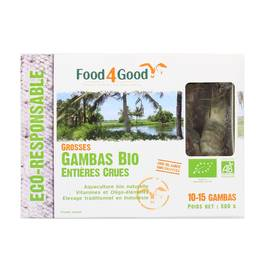 Food4Good Grosses gambas entières crues Bio calibre 20/30