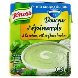 Knorr, Douceur d'epinards a la creme, ail et fines herbes, la brique de 300 ml