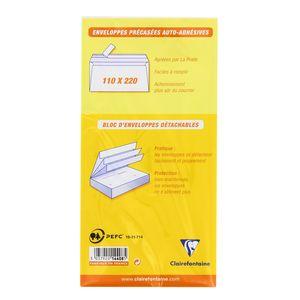 Clairefontaine 50 Enveloppes précasées auto-adhésivesen bloc