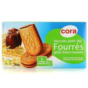 Cora Biscuits petit déj fourrés chocot noisette